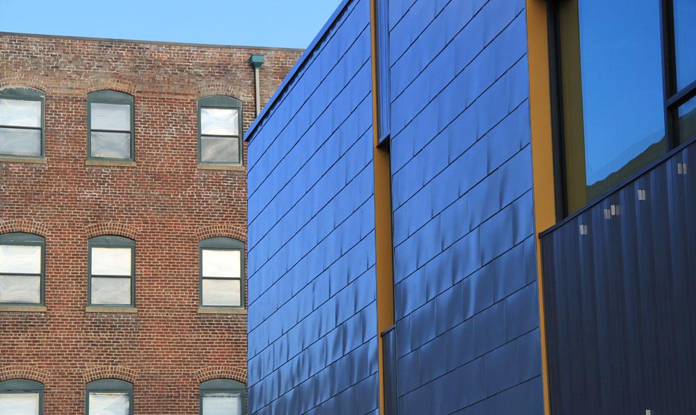 Zinc shingles provide a distinctive appearance along Marshall Street.