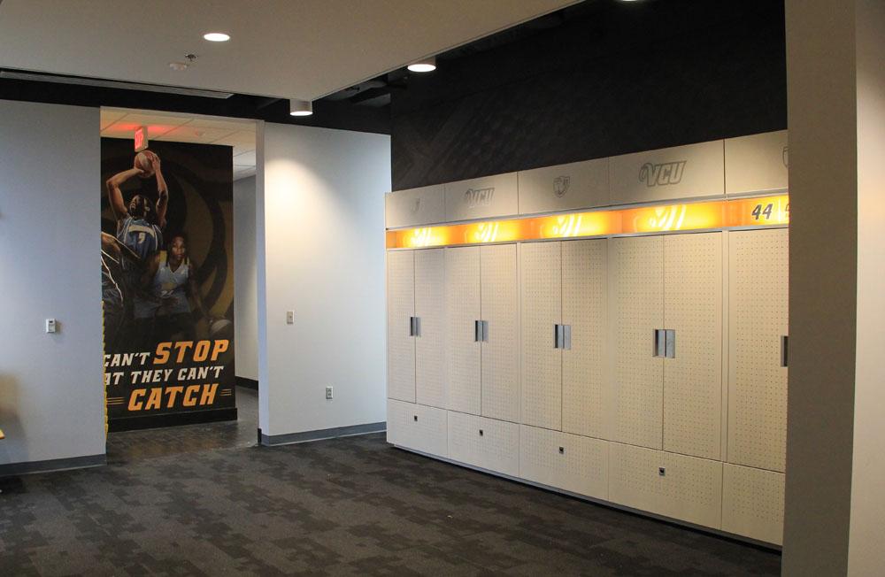 Formaldehyde-free, custom wood lockers in the team rooms.