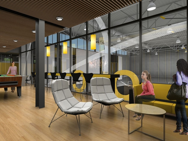 An early phase rendering of one of the team lounges demonstrates the abundant internal transparency.