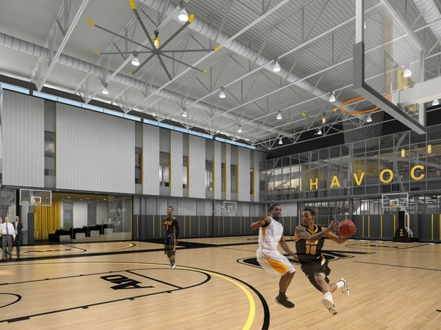 High-volume low-speed destratification fans reduce the building's energy use and increase comfort levels in the practice gym.