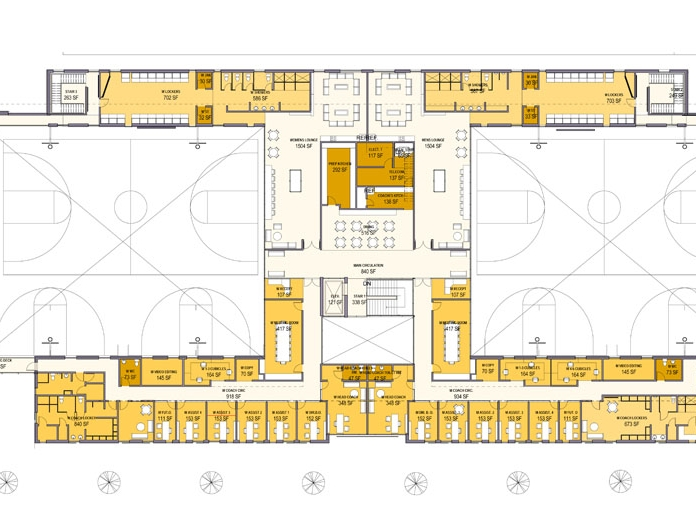 The second floor plan illustrates how the various team facilities surround the practice gyms--the heart of the facility.