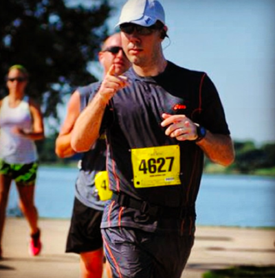 The author, running a half marathon in Texas in August once, man,what was i thinking