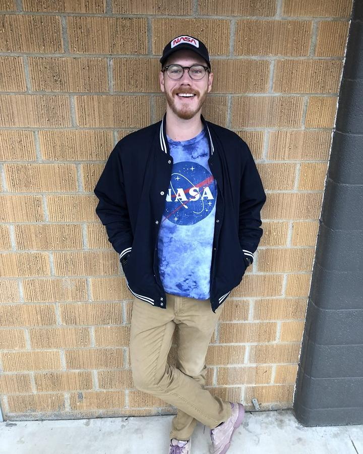 Todd the graphic designer sporting head-to-toe NASA gear