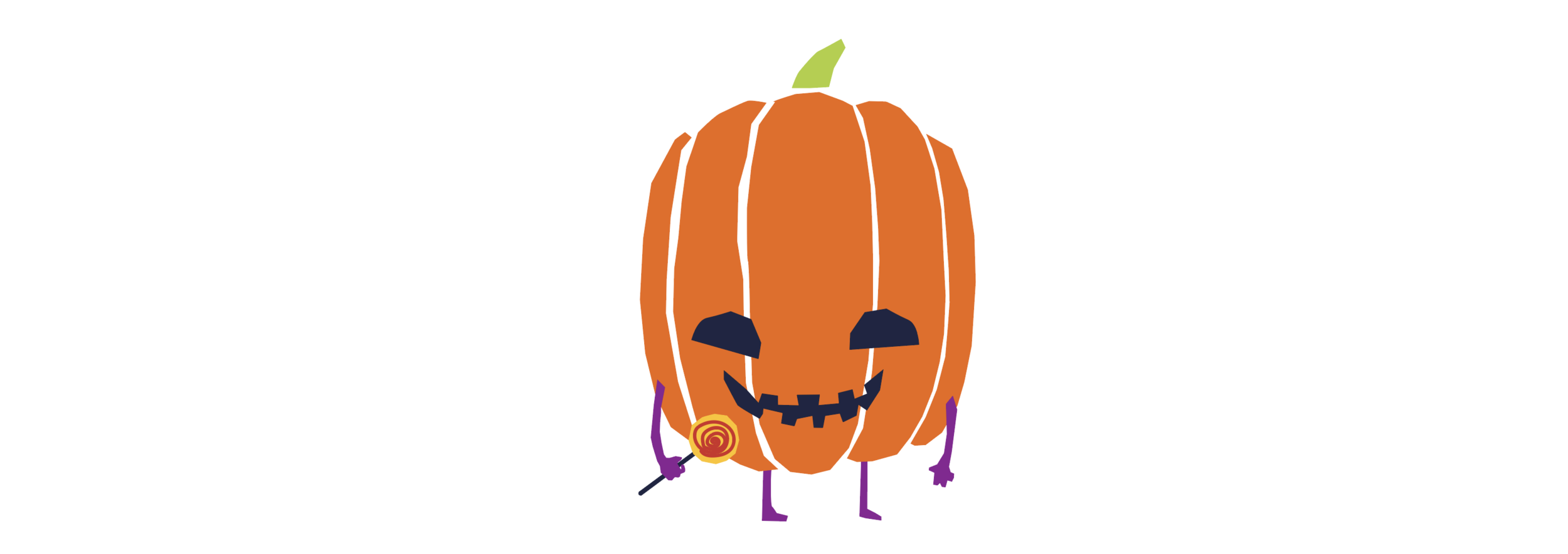 Jack-o-lantern holding a lollipop