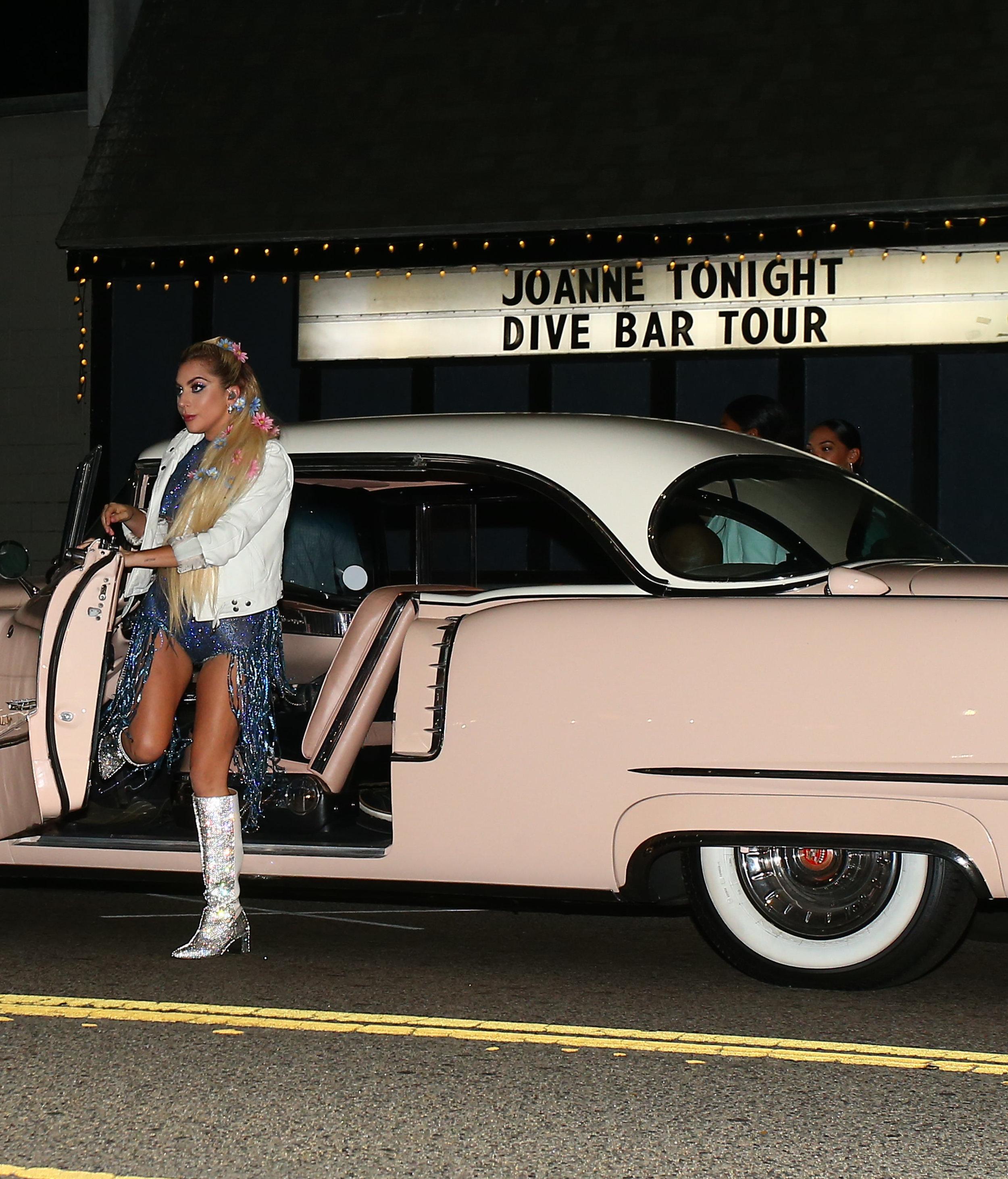 Lady Gaga Boots Dive Bar Tour Arrival 2.jpg