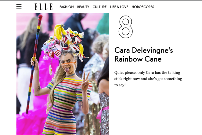 So much press.  - Hyperlinking every article with a headline about Cara's outfit would take a whole day so give it a Google. Leaving you with this cute nod from Elle.