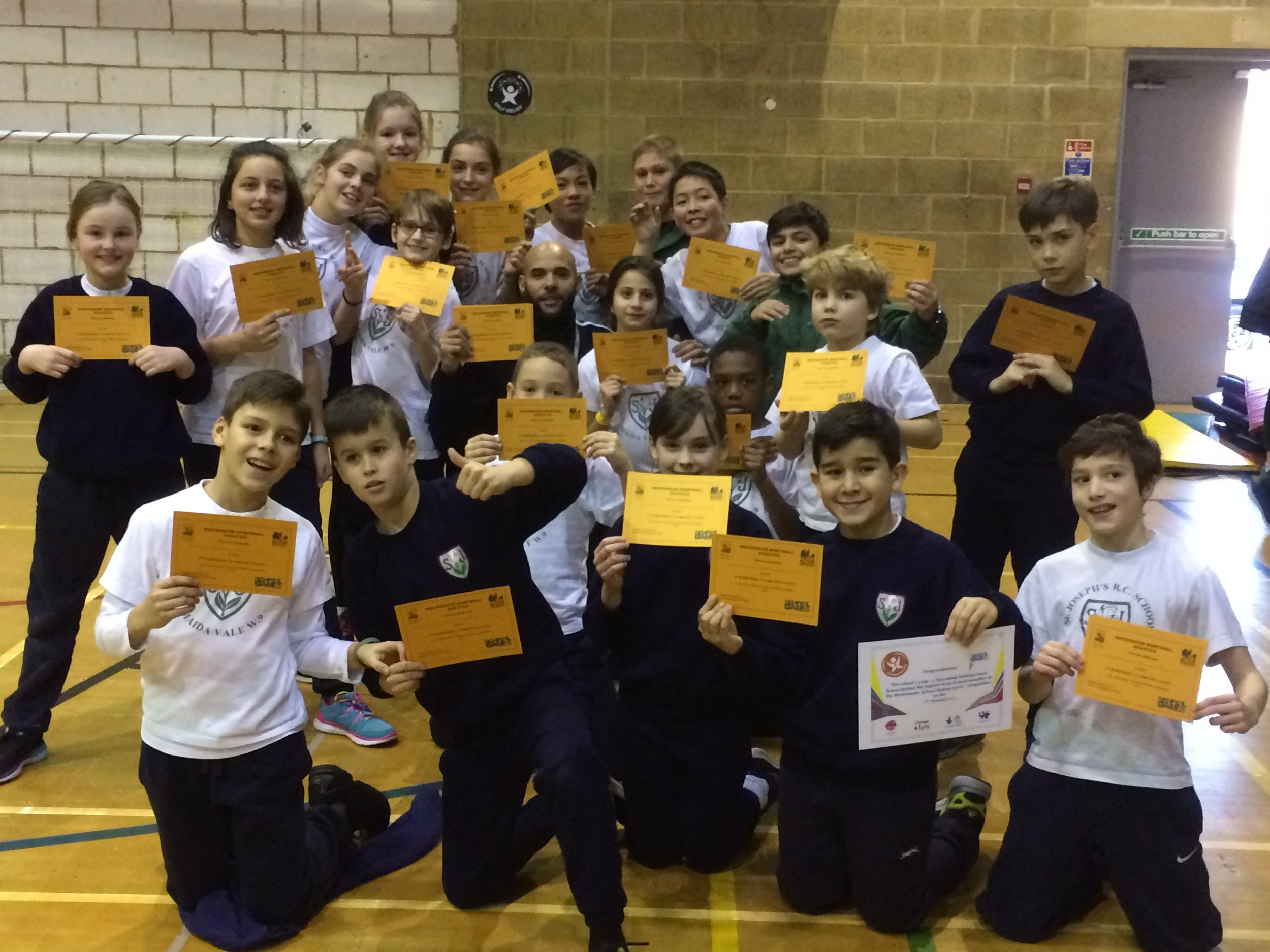 St. Joseph's with their gold winning certificate.