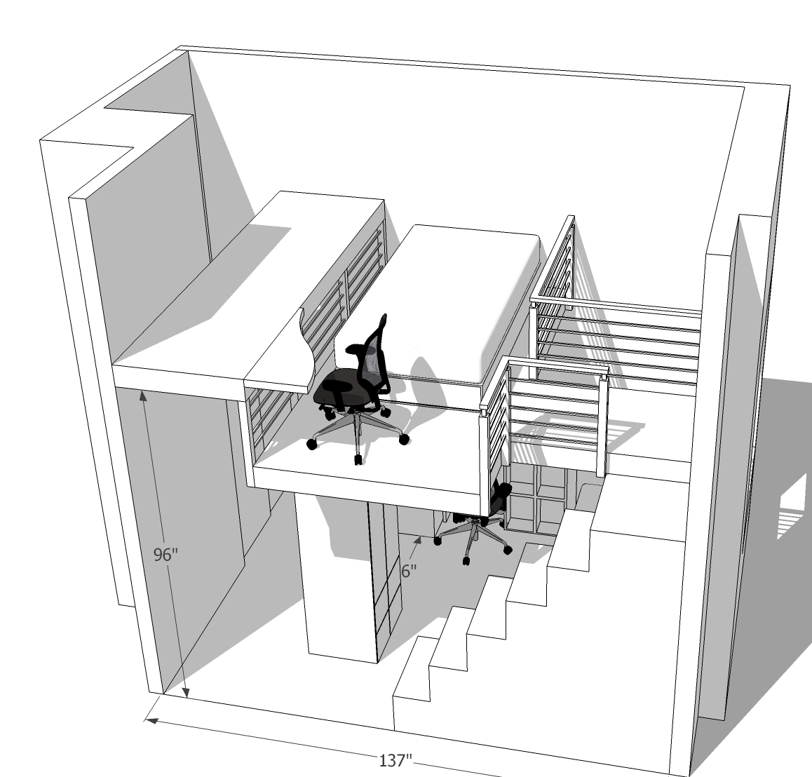 """- Plans for a big kids loft in Cobble Hill, BK:Big staircase with storage,desk custom designed to allow entry into room (door was down on left, 96"""" tall).Two armoire/closets create structural elements for loft above, and also give the room more storage!"""