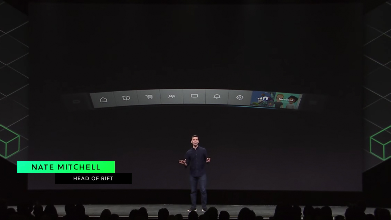 Nate Mitchell, Head of Rift presenting the Oculus Virtual Desktop at OC4 (Oct 2017)