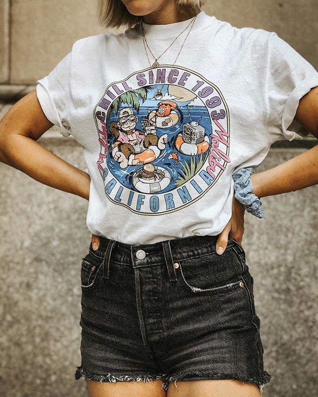 Summer uniform details 💫 Linked my new shorts on the LIKEtoKNOW.it app for everyone asking! Tee and scrunchie are @brandymelvilleusa. http://liketk.it/2CkBp #liketkit @liketoknow.it