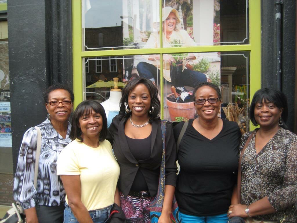 My sisters and me (all grandmothers) in Savannah, Ga. with Khi (center), co-owner of Kainat Josephine`   My sister Lillian was recovering from an illness, or she would have been there as well.