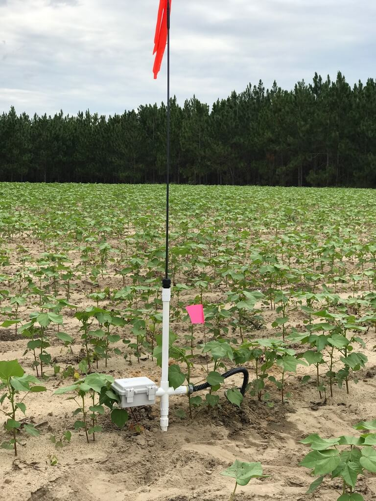 Wireless Sensor Station - Records soil moisture, temperature, rainfall, & electroconductivity data
