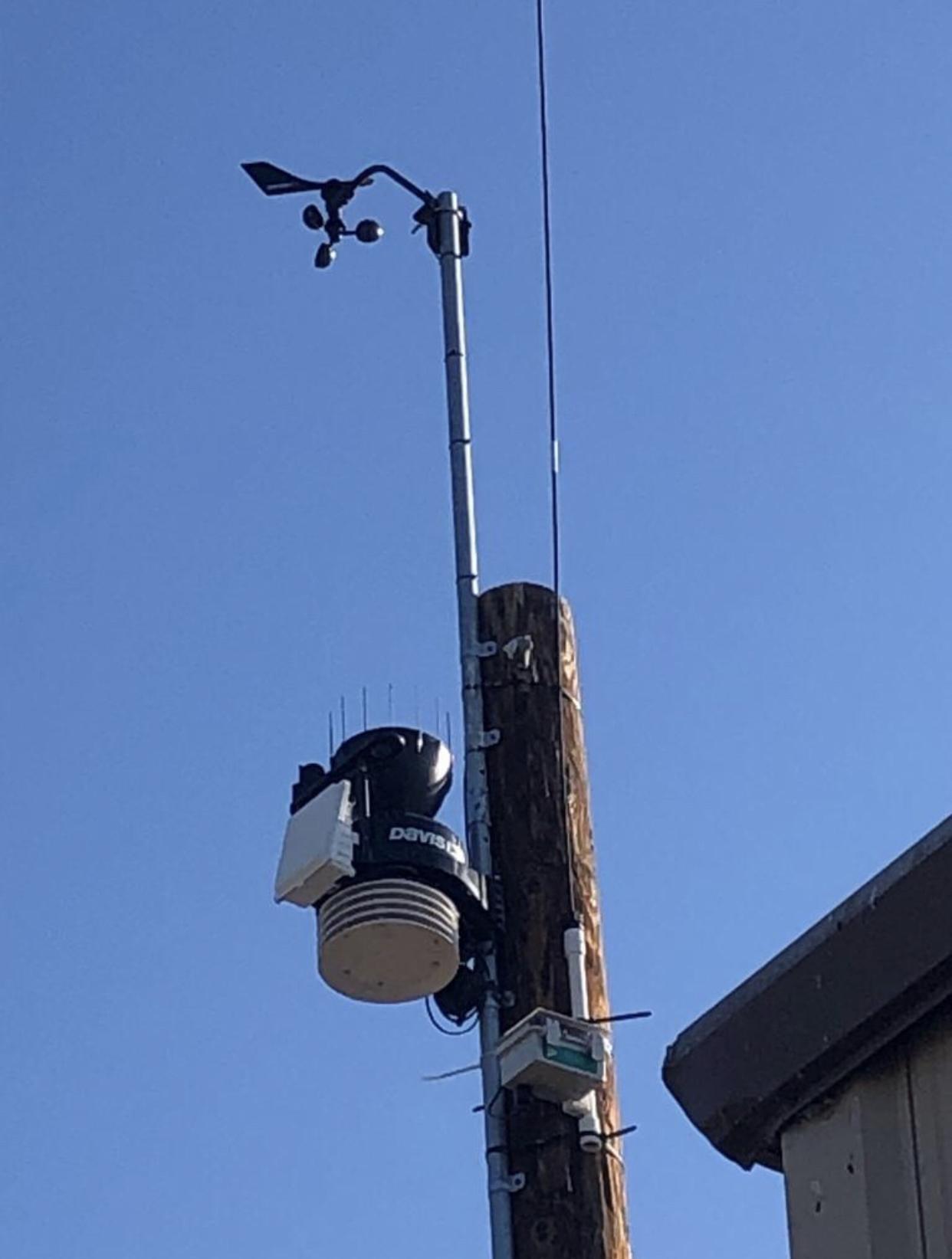 Trellis' Davis Vantage Pro2 GroWeather Cabled Sensor Suite integrated with our Cellular Base Station (mounted).