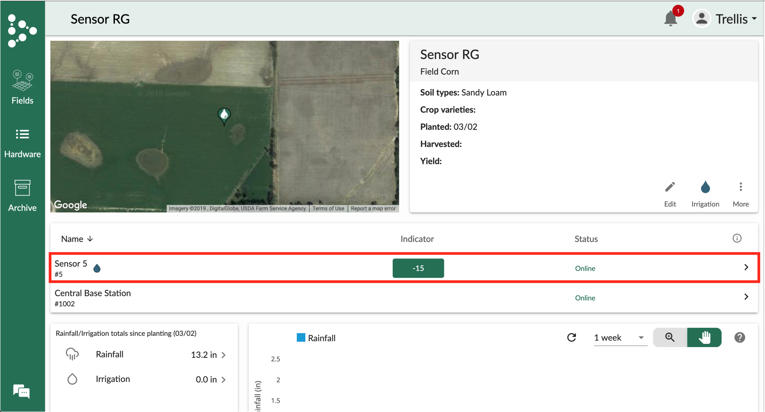 Figure 6. Select a sensor from your field page.