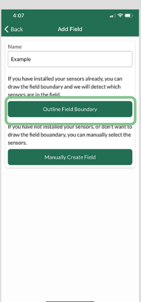 Figure 6. Name the field, then choose Outline Field Boundary.