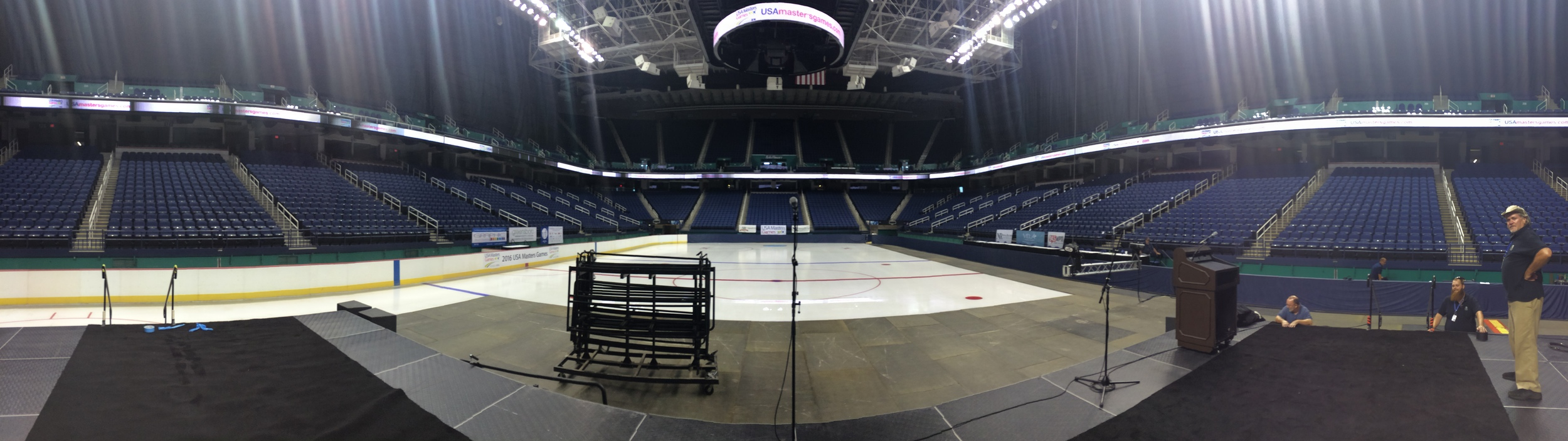 Our first arena! Greensboro Colesium! For the opening ceremony of the USA Masters Games in NC!