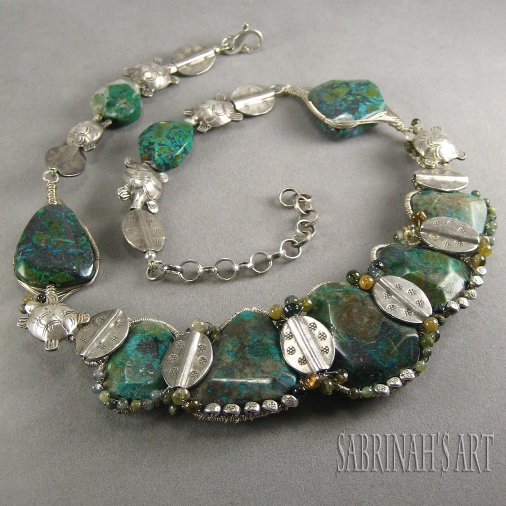 "Sabrinah's Art ""Tribute to the Turtle"" Chrysocolla, Tourmaline, and Sterling Silver Wire Wrapped Necklace"