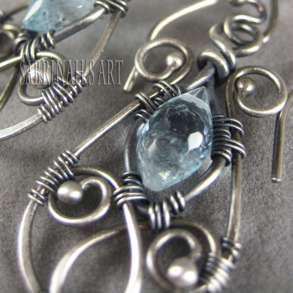 Aquamarine Wire Wrapped Earrings