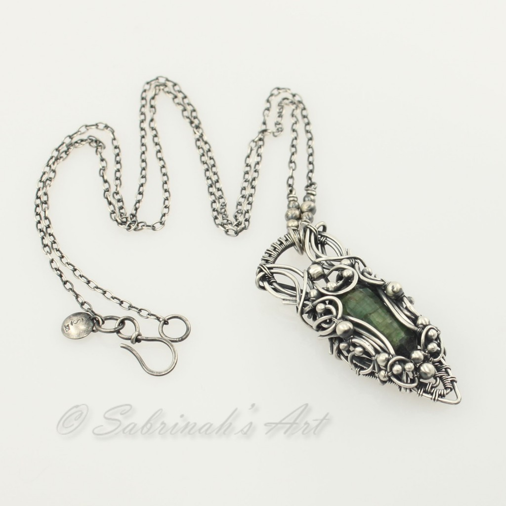 Emerald Wire Wrapped Necklace