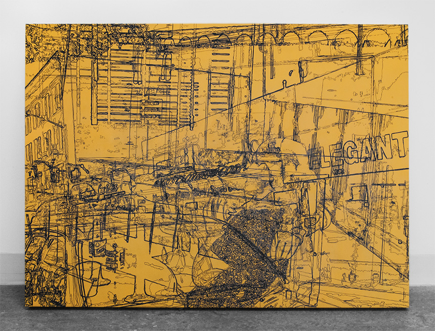 """Urban Sweetheart, acrylic on handcrafted cradled panel, 36"""" x 48"""", 2014, private collection"""