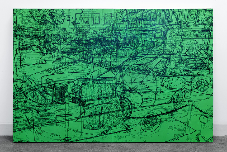 """Grandville, acrylic on two handcrafted cradled panels, 48"""" x 72"""", 2014, private collection"""