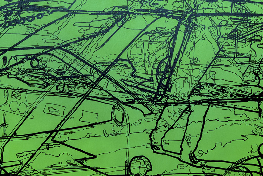 """Grandville (detail), acrylic on two handcrafted cradled panels, 48"""" x 72"""", 2014, private collection"""