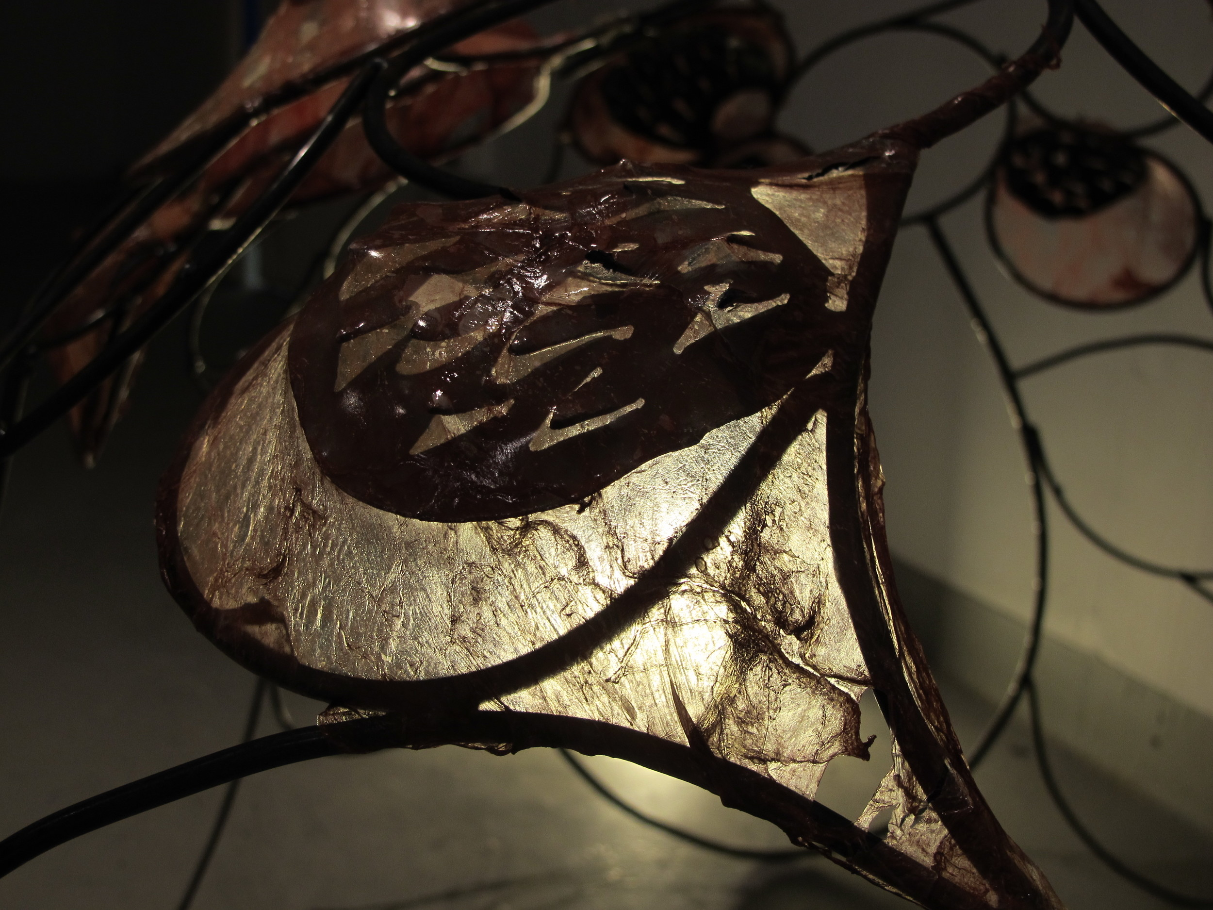 Welded iron and plasma-cut sculpture with pig intestine membrane.