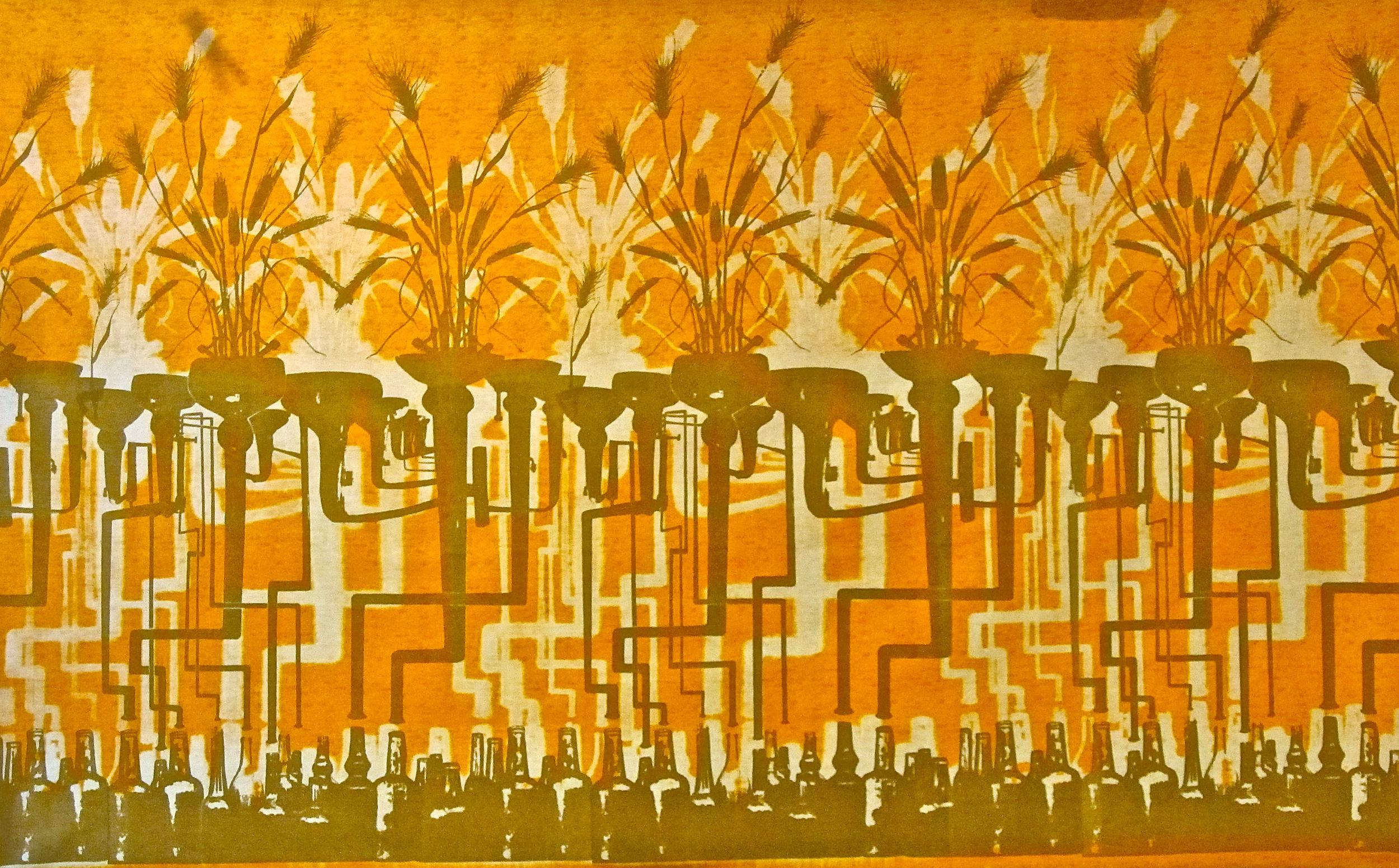 Whiskey print. Screen-printed dye on cotton.