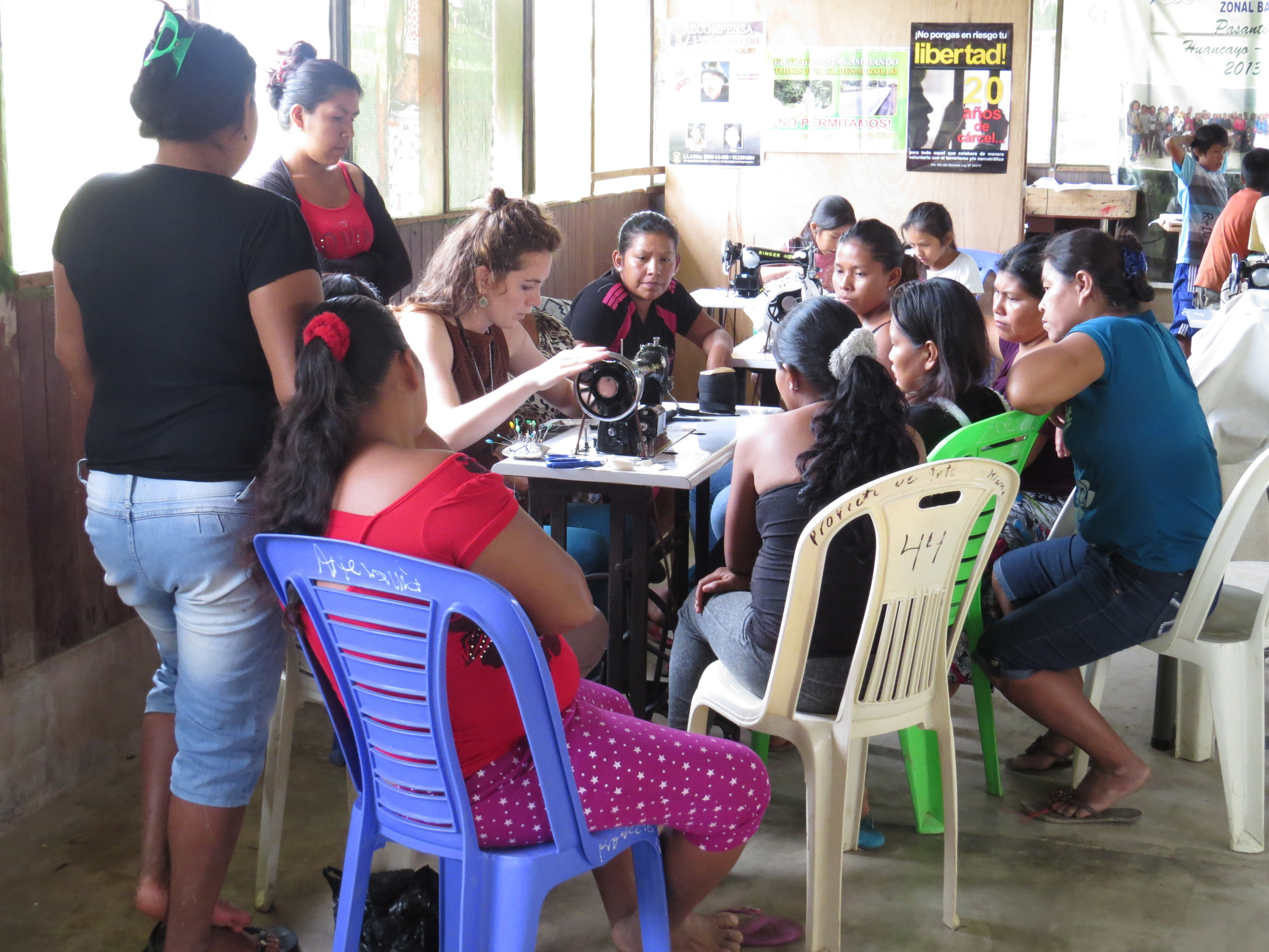 Sewing workshop in the Yine Yami community of Miaria, Bajo Urubamba, Peru