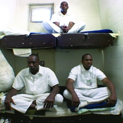 Prisoners at Donaldson Correctional Facility near Birmingham, Alabama, meditate in their cells — Wayne Finch (top bunk), Edward Johnson (bottom bunk, left), Charles Ice (bottom bunk, right) — in Jenny Phillips' film  The Dhamma Brothers . Photo courtesy of Balcony Releasing, Ltd.