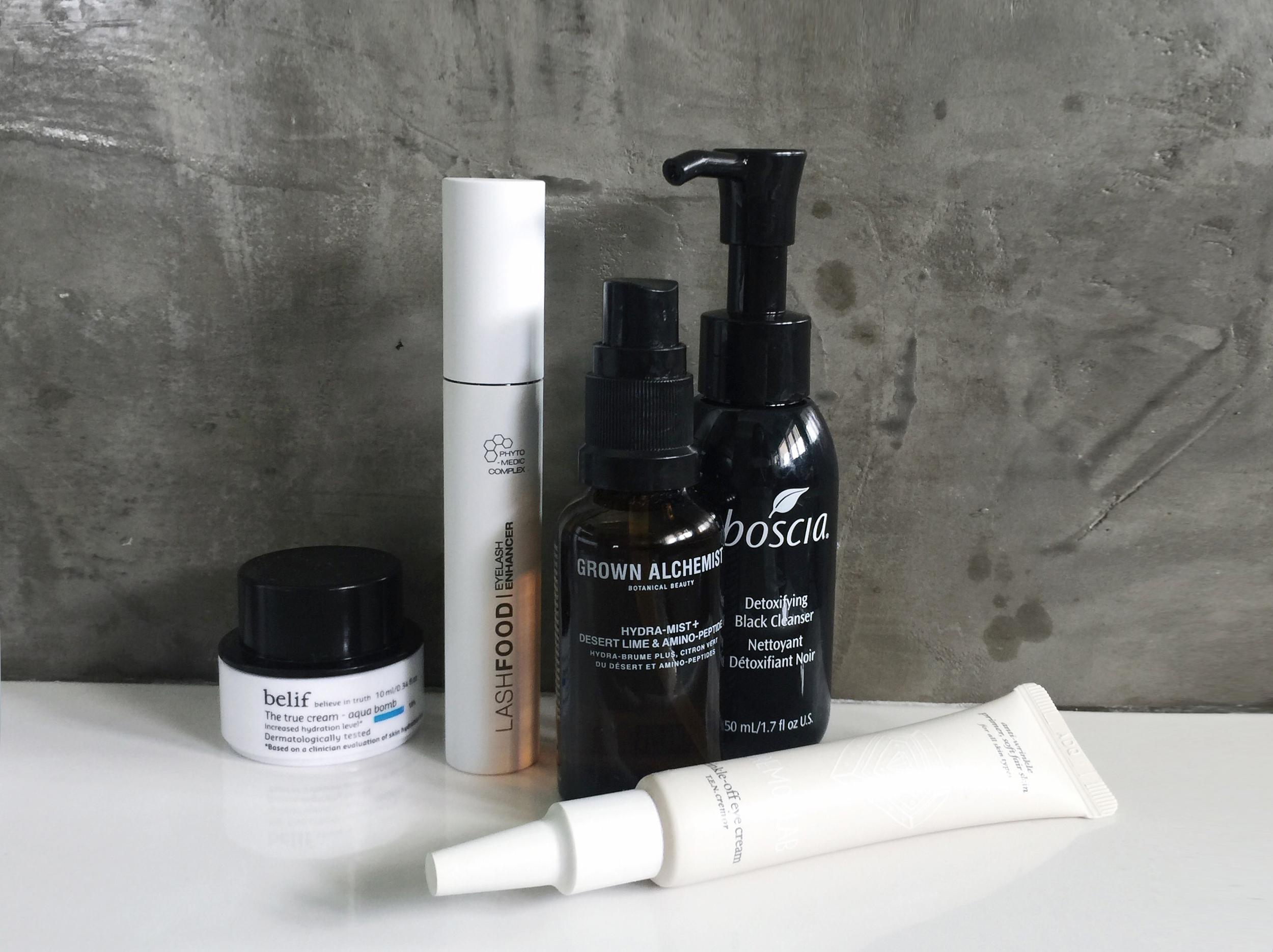 BELIF   Aqua Bomb   / LASHFOOD   Lash Enhancer   / GROWN ALCHEMIST   Hydra-Mist   /BOSCIA   Detoxifying Cleanser  / CREMORLAB   Eye cream