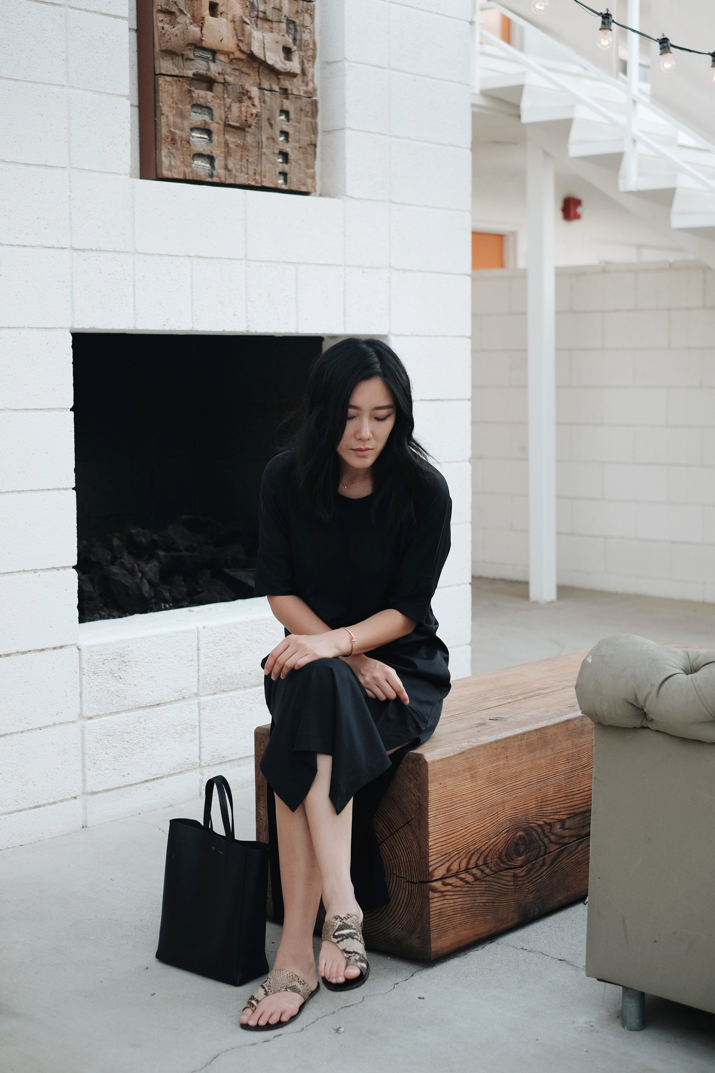 LEMAIRE   Dress  (More  here  ) /CÉLINE   Cuff  and   Bag  / ATP ATELIER   Sandals