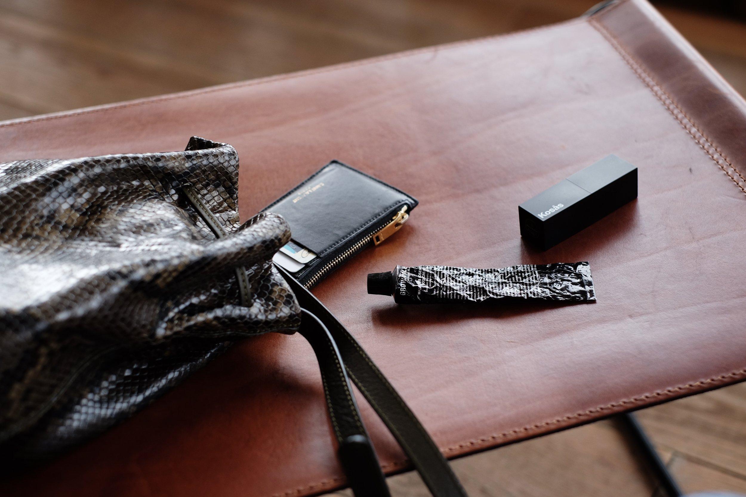 ATP ATELIER   Bag  / SAINT LAURENT   Wallet  (Similar   here  ) /KOSAS   Lipstick