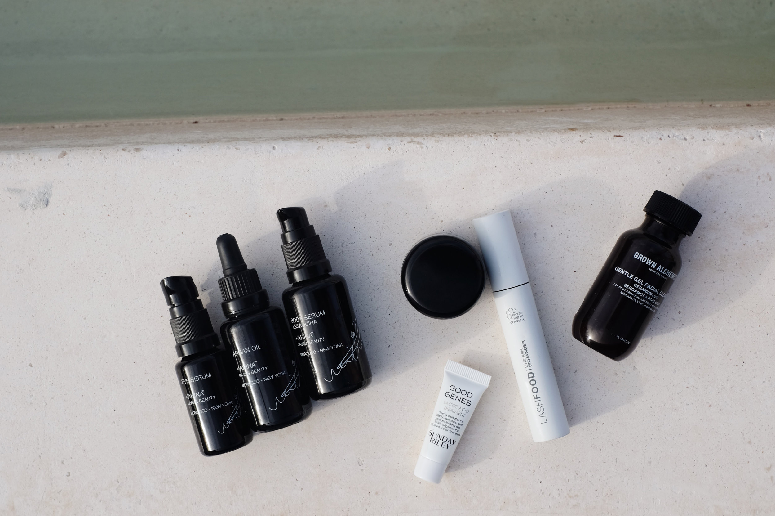 KAHINA GIVING BEAUTY    Eye Serum  ,   Argan Oil  ,   Body Serum  ,   Eye Cream   / SUNDAY RILEY   Good Genes   / LASHFOOD   Serum  / GROWN ALCHEMIST   Gentle Facial Cleanser