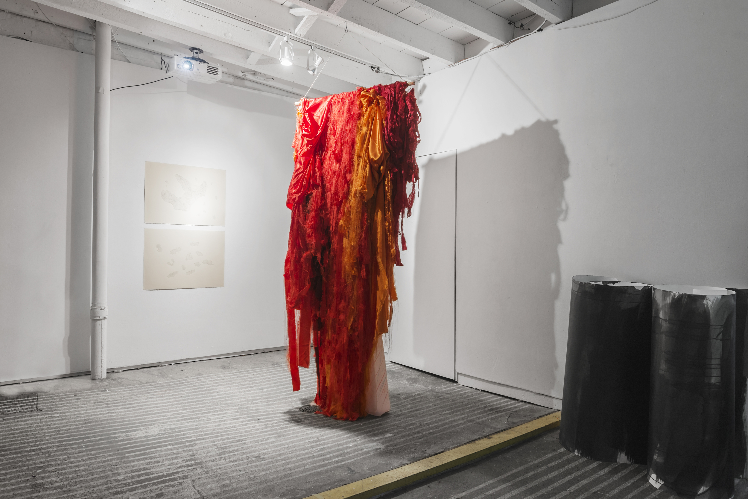 Kristin Velle-George    Escalate I & II , 2014 Graphite on paper 54 x 77 (each)   Elin Melberg    Float (red) , 2015 Torn textile, embroidery, dry pastel, wood Dimensions variable   Margrethe Aanestad    Night Fall I and II , 2016 Ink on aquarelle paper Object, dimensions variable