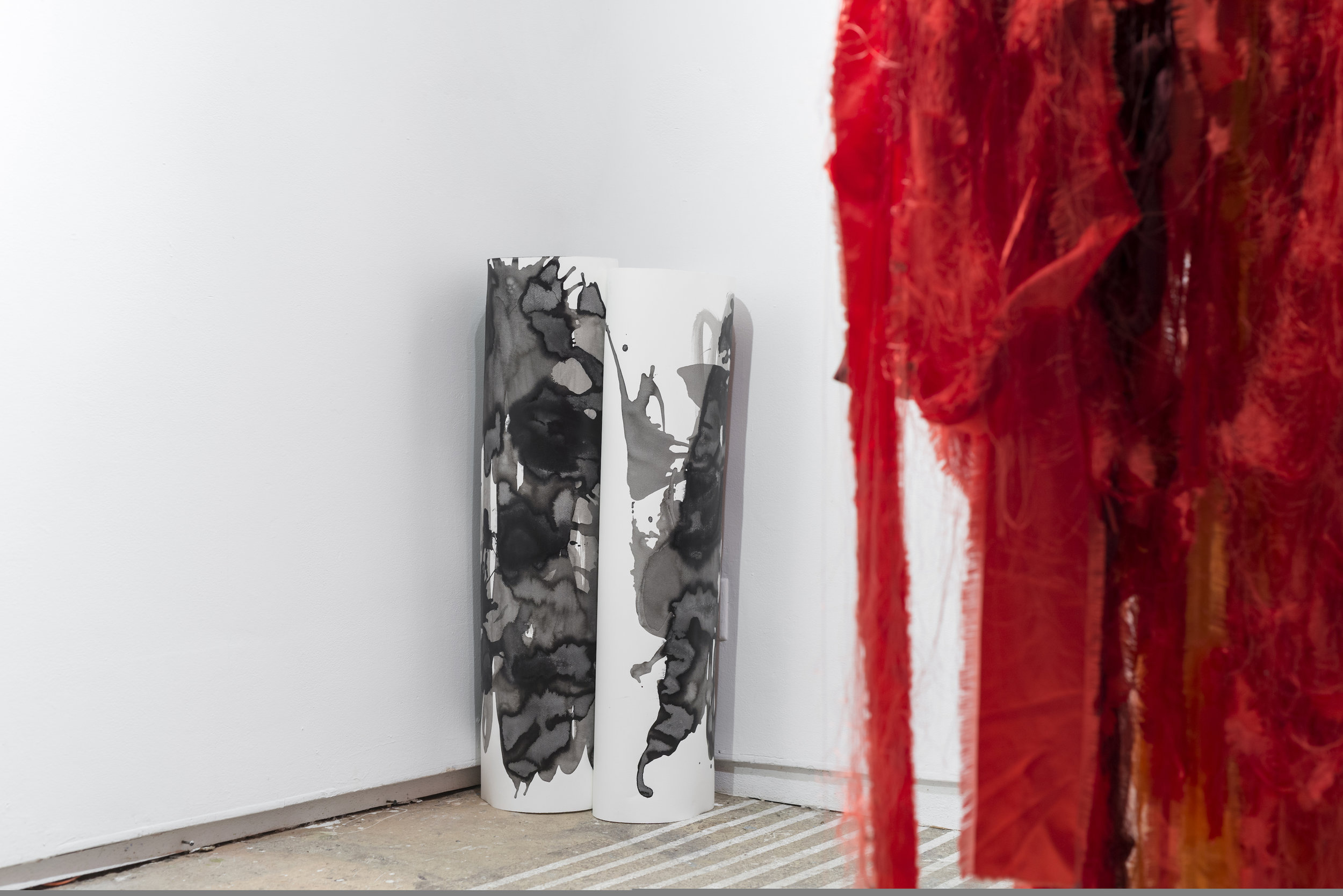 Margrethe Aanestad    Untitled,   2016   Ink on aquarelle paper   bject, dimensions variable    Elin Melberg    Float (red)  , 2015   Torn textile, embroidery, dry pastel, wood   Dimensions variable