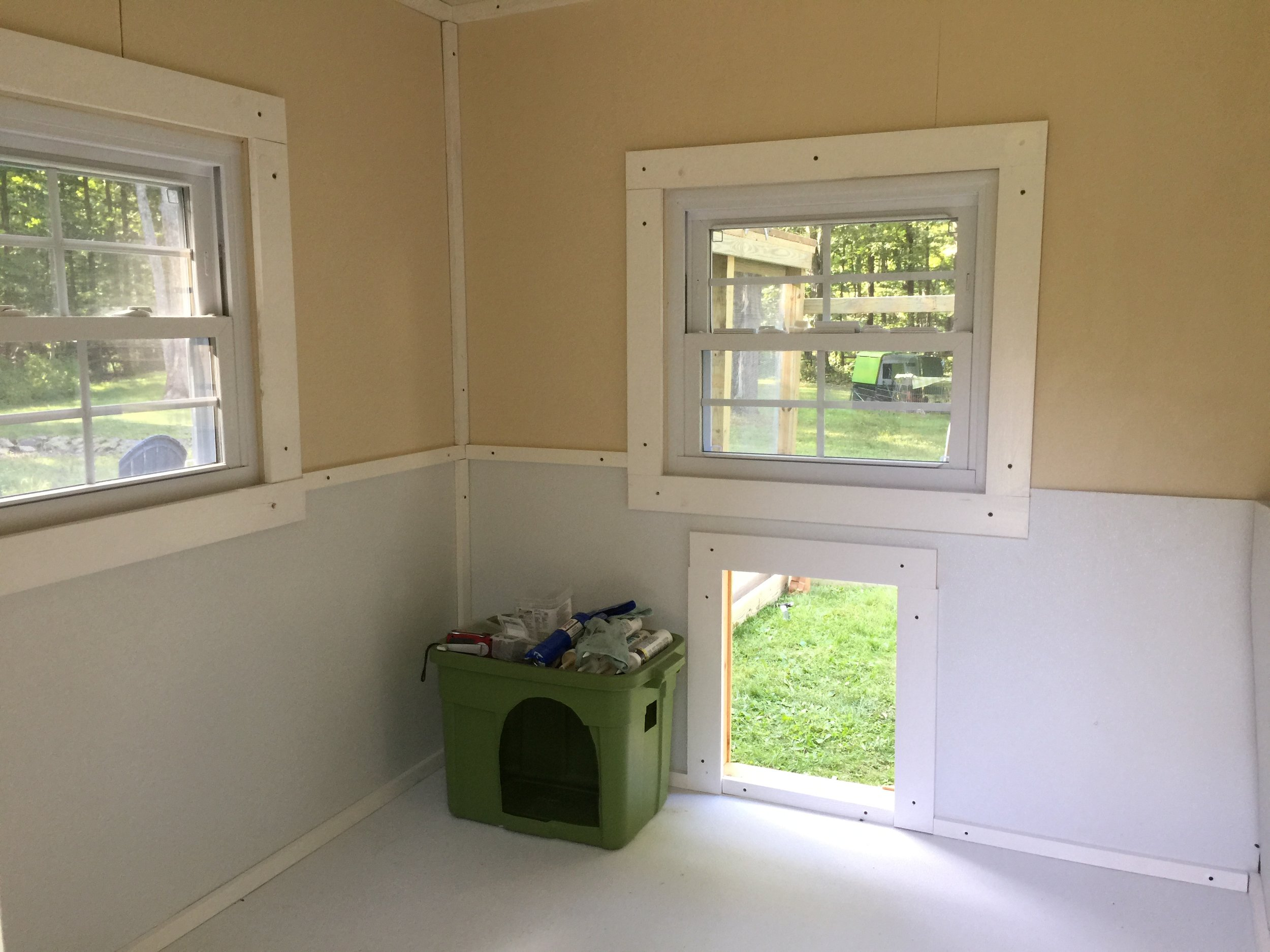 A view of the inside of the coop, almost done but with no divider...