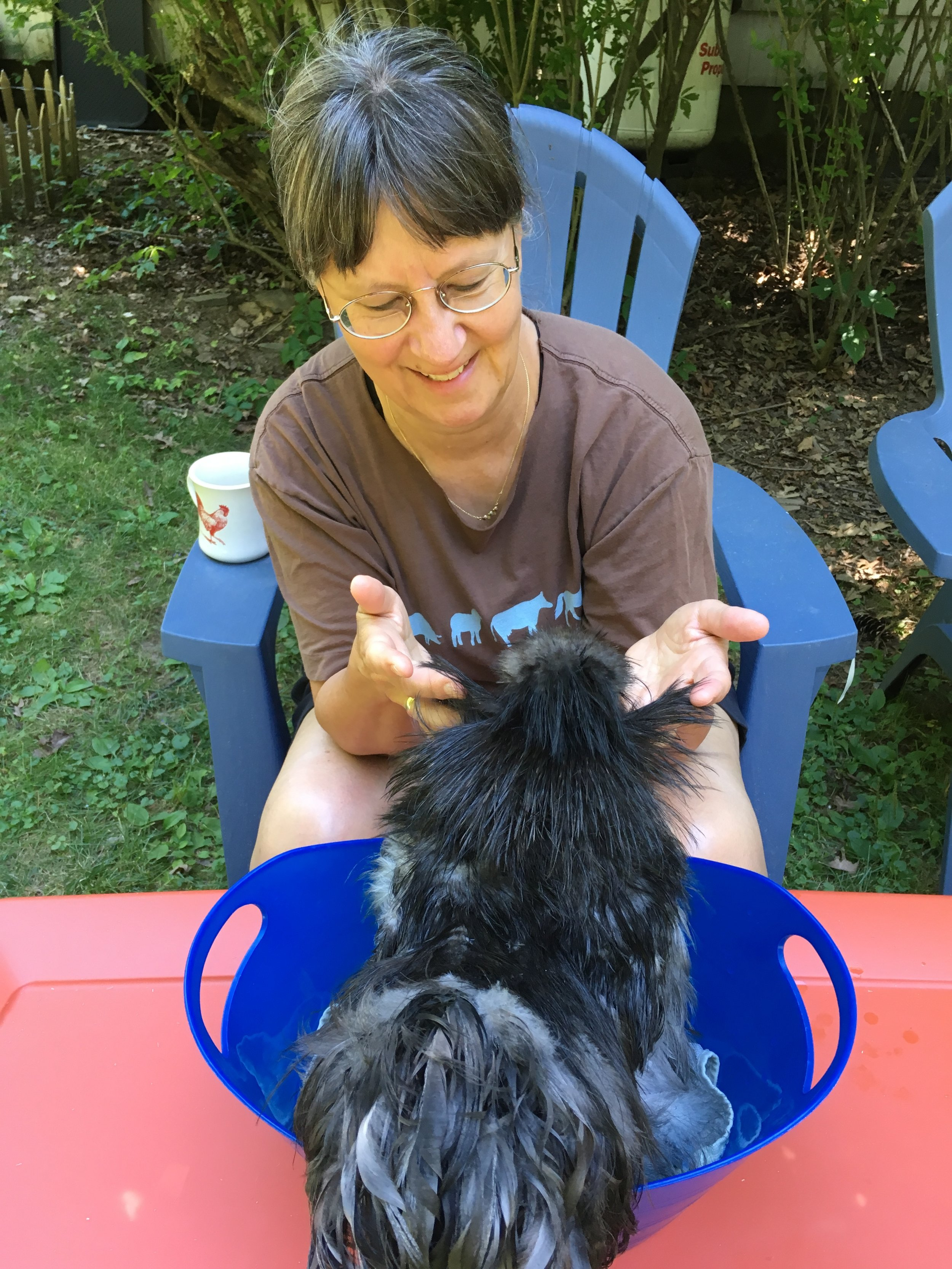 To Appreciate - Little Larry loves his foot baths, especially when Joanne provides feather fluffing as part of the spa package!