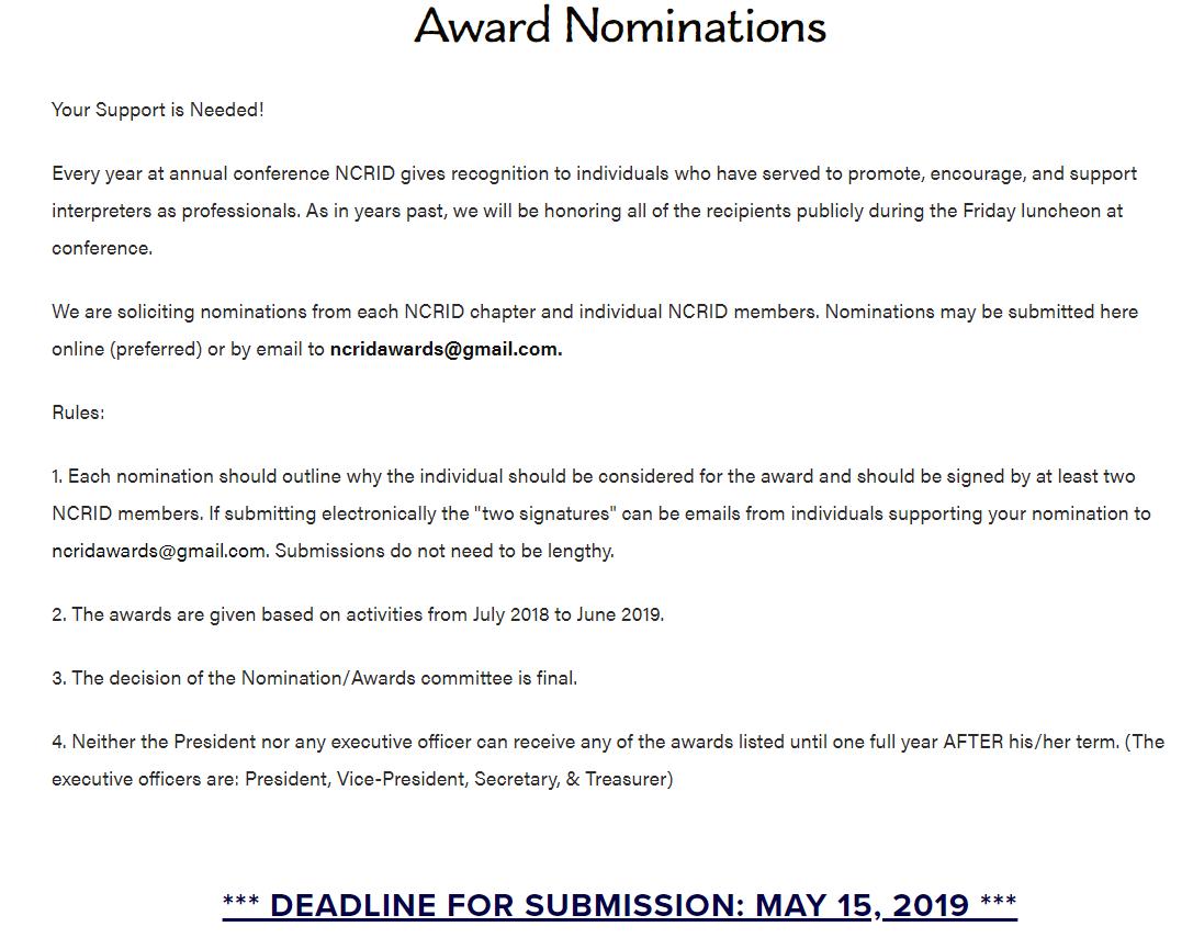 Award Nominations — North Carolina Registry of Interpreters for the Deaf