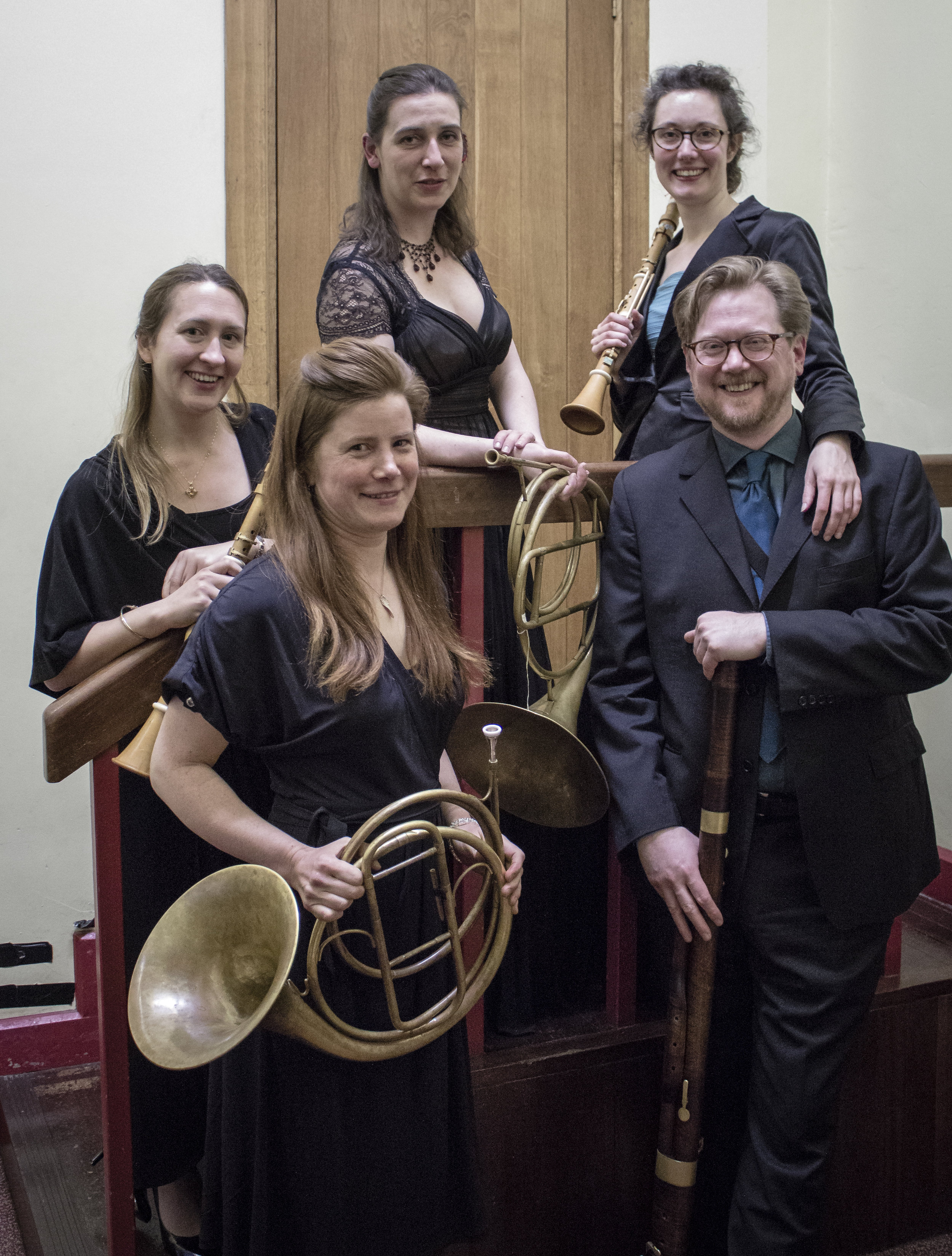 All smiles after our concert 'That Idyllic Combination: The Time-Traveller's Guide to the early clarinet, horn and bassoon' at St Paul's Hall, Huddersfield, April 2016