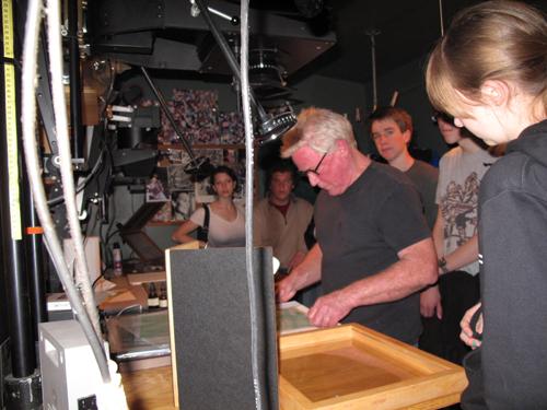 Kim Weston on his darkroom making a platinum print
