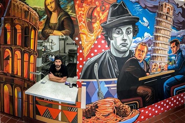 'Mona Pizza' Acrylic Last mural of the year in Cali. Let's hope next year ends up just as productive. Thanks for all the support 2018 has been a whirlwind.