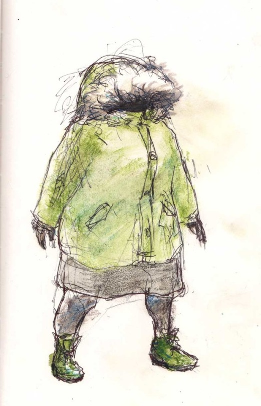 "My winter look- a dress with leggings, green Doc Martens, and a coat with a hood so big I can't see in it. Chris dubbed me as, ""Parka Gnome""."