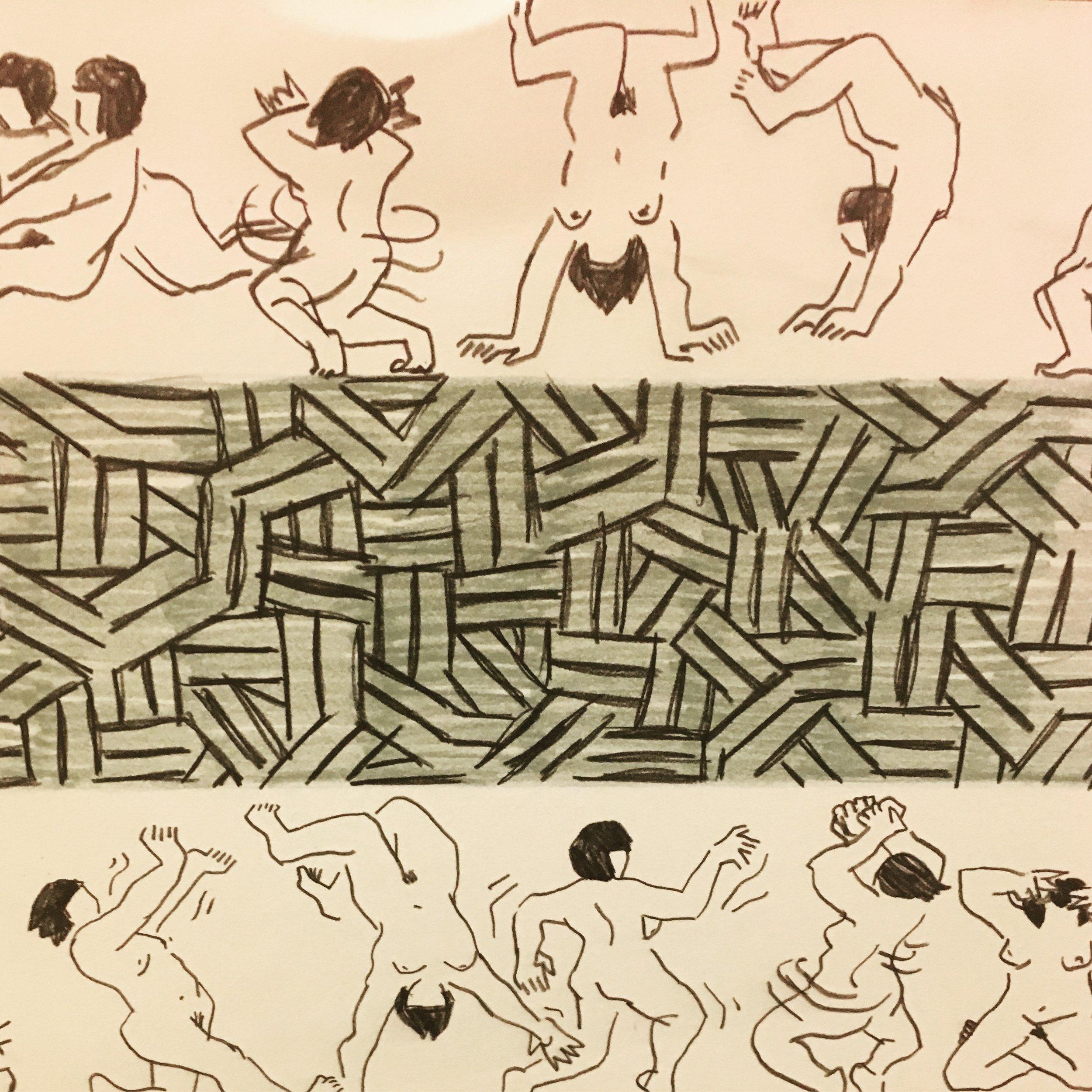 Detail of  Dancing Ladies .