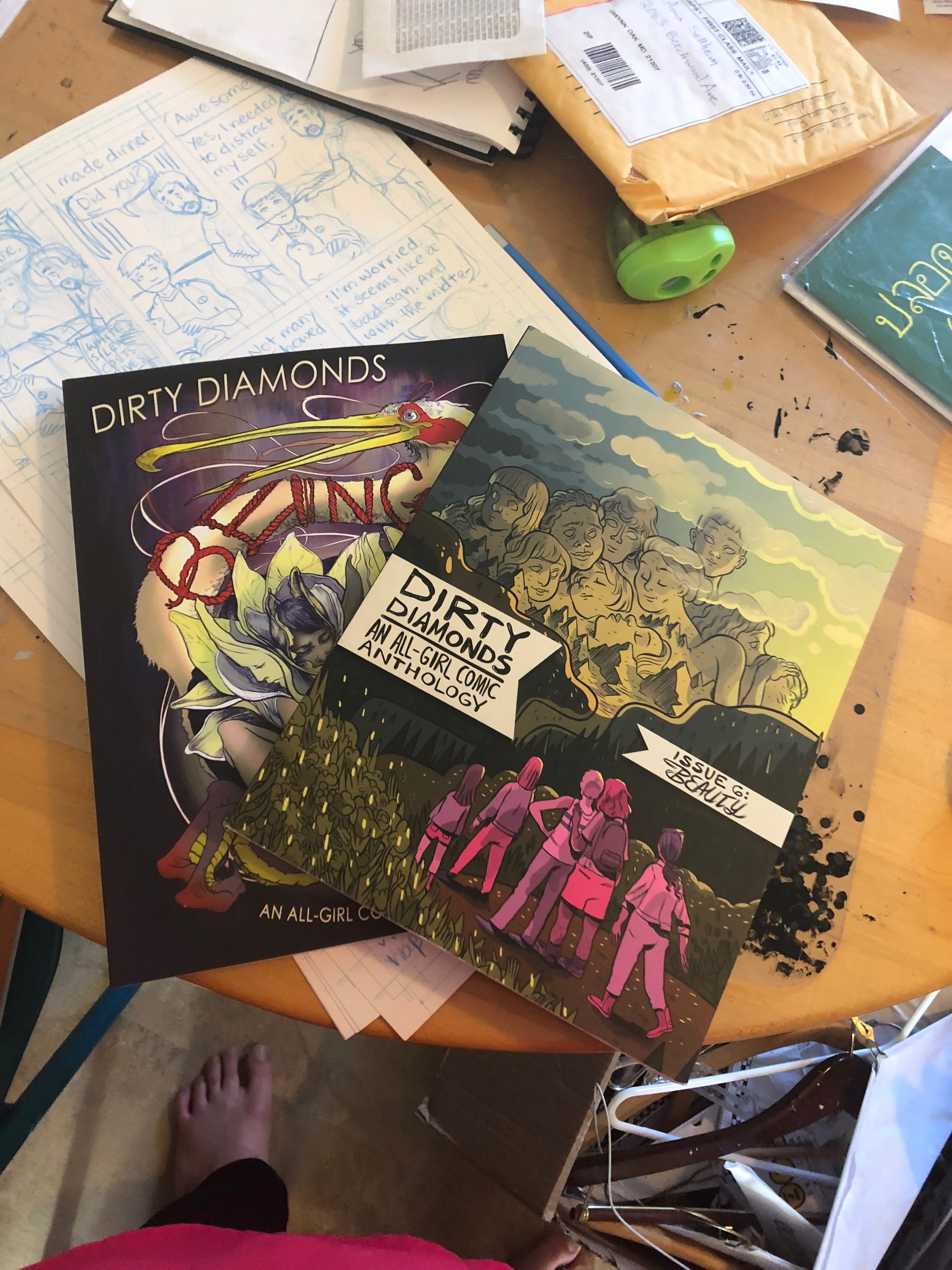 Dirty Diamonds books plus pencils of my current project.