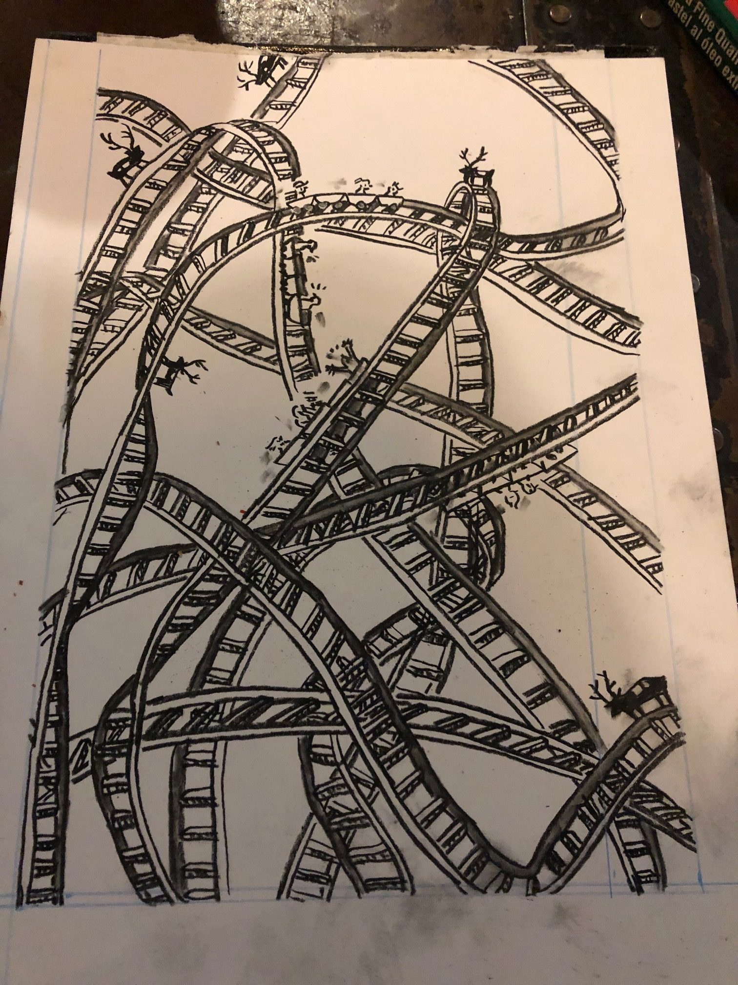A drawing from the best dream I ever had about a dream roller coaster, done in charcoal.