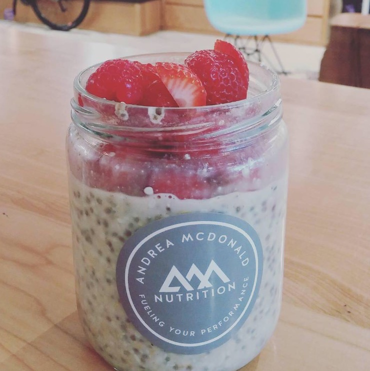 Here's the recipe. - In a 500ml mason jar combine the following:1/2 cup raw steel cut oats (I use Bob's Red Mill quick cooking steel cut oats)1 tablespoon of chia seeds1 tablespoon of hemp seeds1/4 teaspoon of ground cinnamon1-2 tablespoons of pure maple syrup2/3 cup of unsweetened almond milkSeal the lid tightly and give it a vigorous shake combining all ingredients. Put in your fridge for at least 3 hours or overnight and they are ready to eat. Add berries or sliced banana if you like. Keeps well in the fridge up to 4 days.