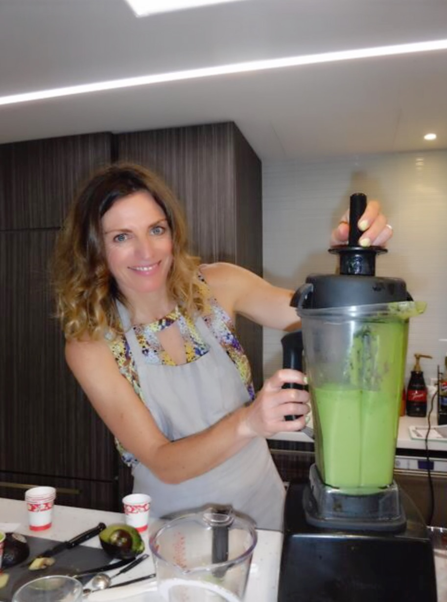 Summer Kickstarter Smoothie - Fresh and light, yet full-bodied, Andrea's Kickstarter is an alkalizing blend of goodness.  This gem is loaded with energizing electrolytes and just enough fat and protein to give you a boost without loading you down.  The addition of fresh ginger ups absorption and assimilation of key nutrients for a kick-ass workout.1  banana, frozen3/4  cup mango chunks, frozen1 1/2  cups baby kale1  tablespoon chia seeds 1/2  avocado1/3 inch piece of fresh ginger1 1/2 cups of water or coconut water (for electrolytes)Blend and serve.