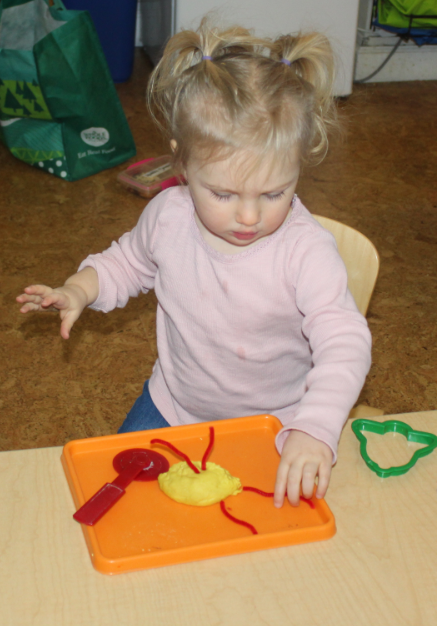 Play dough is a sensory exploration activity. Madeline squeezed and pressed and formed a ball. The teacher provided tools for further exploration and pipe cleaners for adornment.