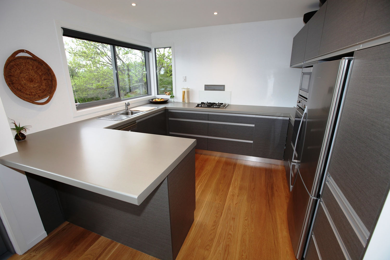 Ash pinstripe fronts with silver shadow benchtop